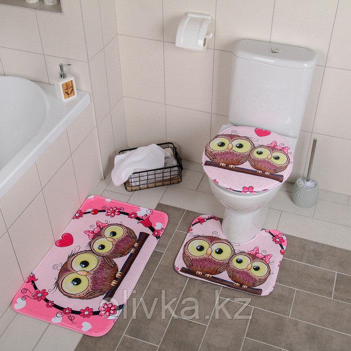 Набор ковриков для ванны и туалета Доляна «Совушки на ветке», 3 шт: 38×45, 40×43, 43×73 см, цвет розовый
