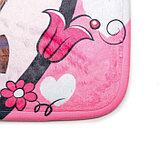 Набор ковриков для ванны и туалета Доляна «Совушки на ветке», 3 шт: 38×45, 40×43, 43×73 см, цвет розовый, фото 2