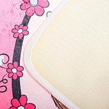 Набор ковриков для ванны и туалета Доляна «Совушки на ветке», 3 шт: 38×45, 40×43, 43×73 см, цвет розовый, фото 3