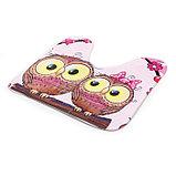 Набор ковриков для ванны и туалета Доляна «Совушки на ветке», 3 шт: 38×45, 40×43, 43×73 см, цвет розовый, фото 5