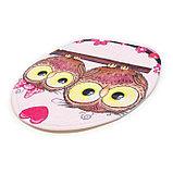 Набор ковриков для ванны и туалета Доляна «Совушки на ветке», 3 шт: 38×45, 40×43, 43×73 см, цвет розовый, фото 6