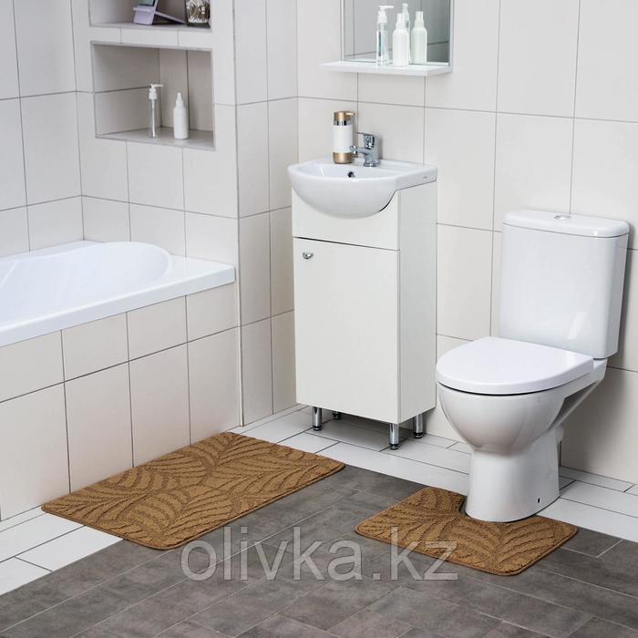 Набор ковриков для ванны и туалета SHAHINTEX «Актив», 2 шт: 50×80, 50×40 см, цвет капучино