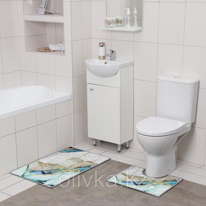 Набор ковриков для ванны и туалета Доляна «Агат», 2 шт: 50×80, 50×40 см, цвет бирюзово-жёлтый