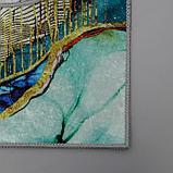 Набор ковриков для ванны и туалета Доляна «Агат», 2 шт: 50×80, 50×40 см, цвет бирюзово-жёлтый, фото 3