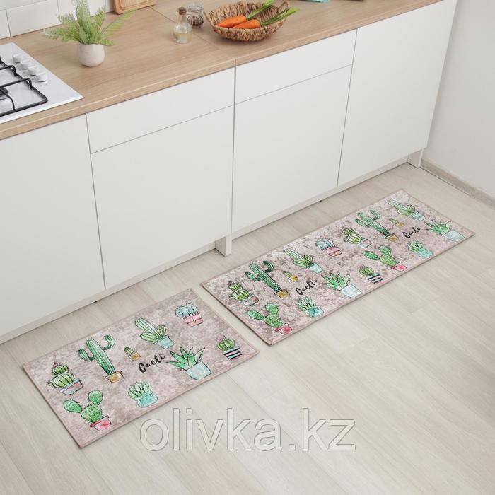 Набор ковриков универсальных Доляна «Кактусы», 2 шт: 45×120, 45×75 см