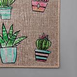 Набор ковриков универсальных Доляна «Кактусы», 2 шт: 45×120, 45×75 см, фото 5
