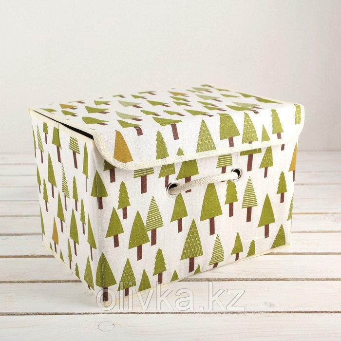 Короб для хранения с крышкой «Ёлки», 37×26×24 см