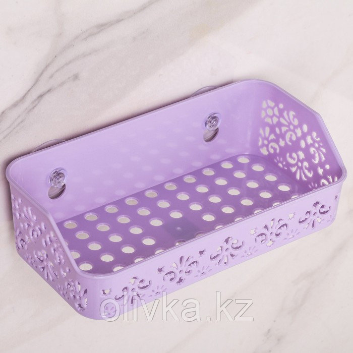 Полка для ванной комнаты на присосках «Вензель», 21×10×6 см, цвет МИКС