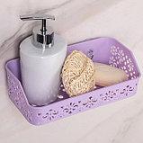 Полка для ванной комнаты на присосках «Вензель», 21×10×6 см, цвет МИКС, фото 3