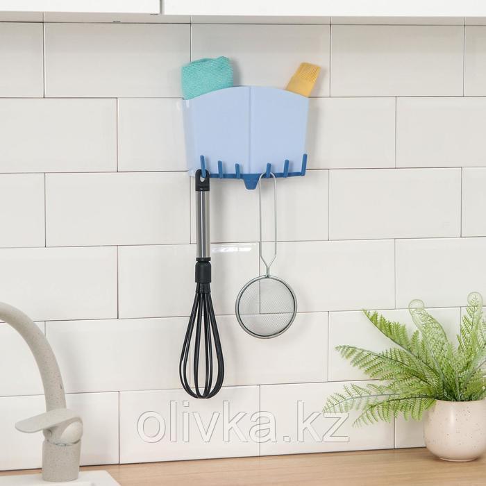 Держатель для ванных и кухонных принадлежностей на липучке, 17×7×12 см, цвет МИКС