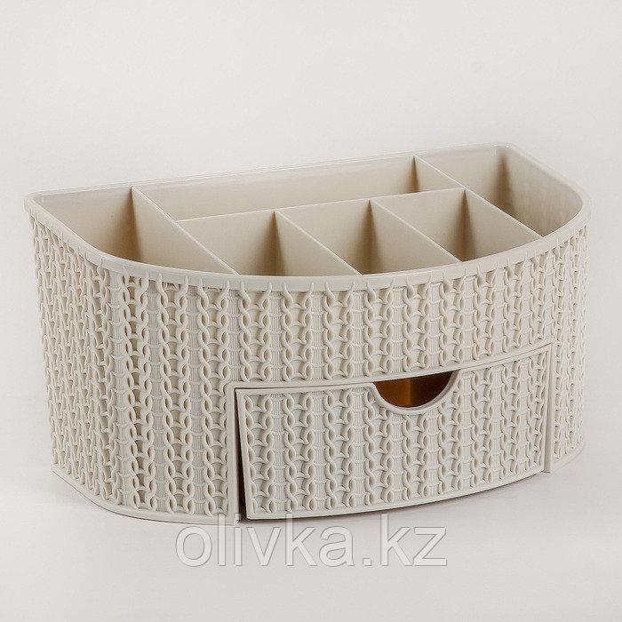 Органайзер IDEA «Вязание», с ящиком, цвет белый ротанг