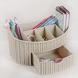 Органайзер IDEA «Вязание», с ящиком, цвет белый ротанг, фото 2