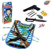 Игровой набор для мальчиков «ВДВ» (жилет,самолётик, пист,3 пули, нож, граната), 38 х 32 см