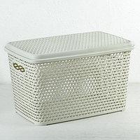 Ящик для хранения с крышкой IDEA «Ротанг», 23 л, 45×30×26,5 см, цвет белый
