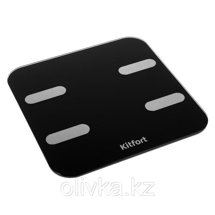 Весы напольные Kitfort КТ-806, электронные, до 180 кг, Bluetooth, 4хААА, черные