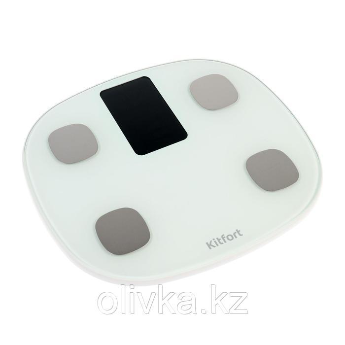 Весы напольные Kitfort КТ-808, электронные, до 180 кг, Bluetooth, 4хААА, белые