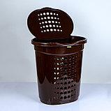 Корзина для белья с крышкой Алеана, 60 л, 50×37×57 см, цвет тёмно-коричневый, фото 2