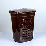 Корзина для белья с крышкой Алеана, 60 л, 50×37×57 см, цвет тёмно-коричневый, фото 3