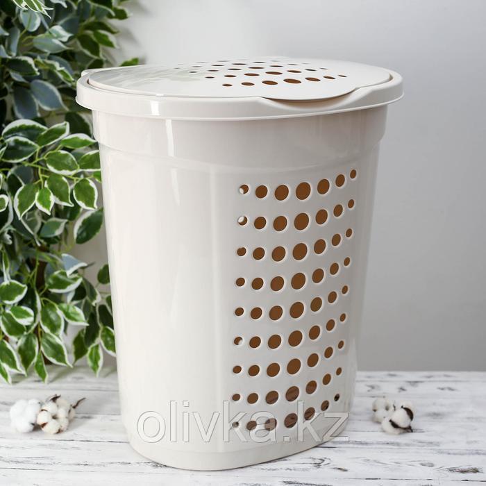 Корзина для белья с крышко йАлеана, 60 л, 50×37×57 см, цвет белая роза