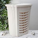 Корзина для белья с крышко йАлеана, 60 л, 50×37×57 см, цвет белая роза, фото 3