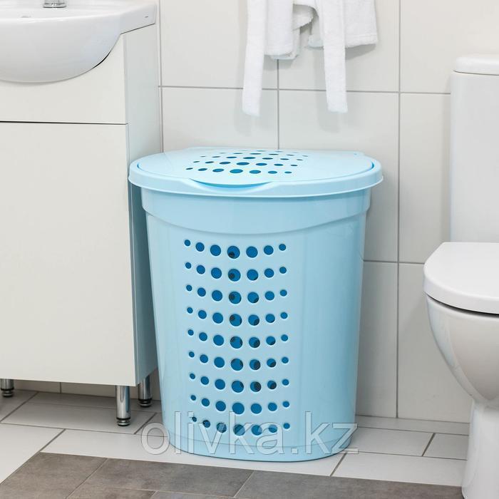 Корзина для белья с крышкой Алеана, 60 л, 50×37×57 см, цвет голубой