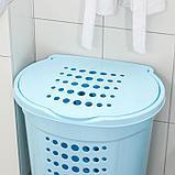 Корзина для белья с крышкой Алеана, 60 л, 50×37×57 см, цвет голубой, фото 2