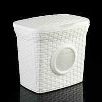 Контейнер для стирального порошка Виолет «Ротанг», 10 л, с иллюминатором, цвет белый