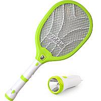 Электрическая мухобойка аккумуляторная с съемным и стационарным фонарями Gecko LTD-288 светло зеленая