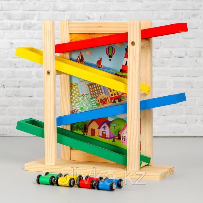 Детская деревянная игрушка 2 в 1 «Автотрек + доска» мел и губка в комплекте 31×28×9,5 см