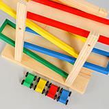 Детская деревянная игрушка 2 в 1 «Автотрек + доска» мел и губка в комплекте 31×28×9,5 см, фото 2