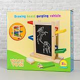 Детская деревянная игрушка 2 в 1 «Автотрек + доска» мел и губка в комплекте 31×28×9,5 см, фото 4