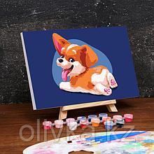 Картина по номерам на холсте с подрамником «Малыш Корги» 20×30 см