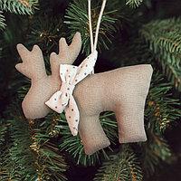 Новогодняя ёлочная игрушка, Набор для создания подвески из ткани «Олень с бантиком»
