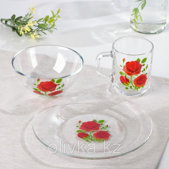 "Набор для завтрака ""Алая роза"", 3 предмета: тарелка 20 см, салатник 13 см, кружка 250 мл, цвет МИКС"
