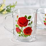 "Набор для завтрака ""Алая роза"", 3 предмета: тарелка 20 см, салатник 13 см, кружка 250 мл, цвет МИКС, фото 2"
