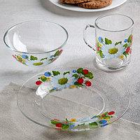 Набор посуды GiDGLASS «Лесная поляна», 3 предмета: тарелка d=20 см, салатник d=13 см, кружка 200 мл