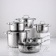 Набор посуды, 6 предметов: кастрюли 2,1/2,9/3,9/8 л, ковш 2,1 л, сковорода d=24 см