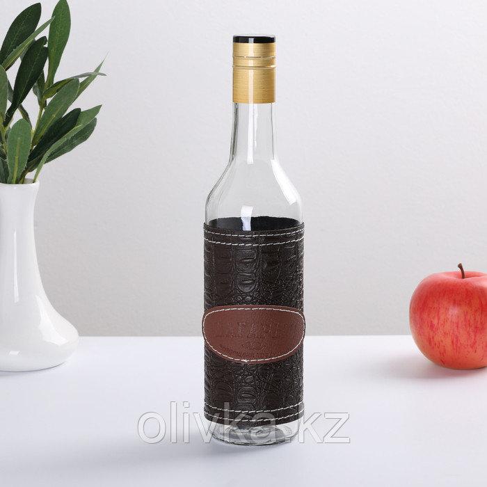 Бутылка Магарыч «Тара 3», 0,5 л чехол кожа/экокожа, колпачок, цвет коричневый