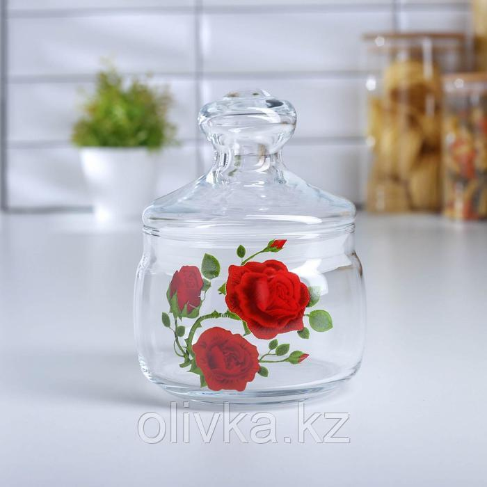 Банка для сыпучих продуктов GiDGLASS Cesni «Алая роза», 500 мл