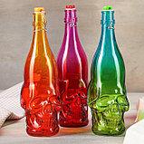 Бутылка «Череп», 1,5 л, 10×10×31 см, с бугельным замком, цвет МИКС, фото 3