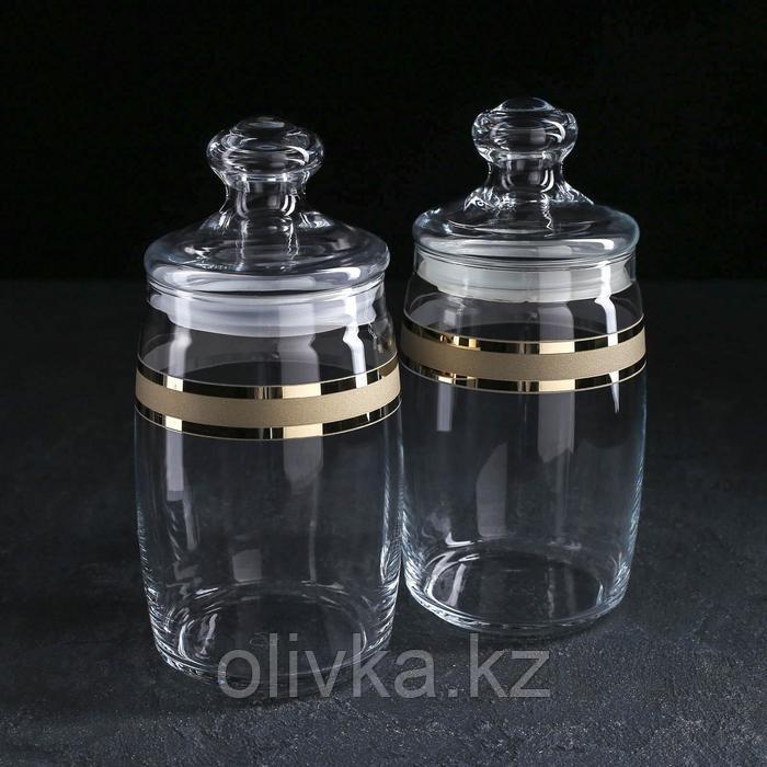 Набор банок для сыпучих продуктов GiDGLASS Ring, 1,1 л, 2 шт, с гравировкой и напылением, в упаковке