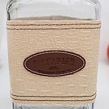 Бутылка стеклянная «Магарыч. Викинг», 1,75 л, чехол бежев кожа, с бугельной пробкой, фото 2