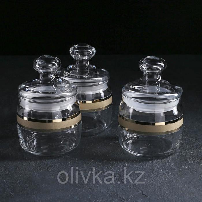 Набор банок для сыпучих продуктов GiDGLASS Ring, 650 мл, 3 шт, с гравировкой и напылением, в упаковке
