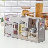 Набор ёмкостей для сыпучих продктов с кувшином для масла «Модерн», 5 шт, цвет серый, фото 4