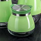 Набор банок для сыпучих продуктов «Сияние», 3 шт, 37×12×22 см, цвет зелёный, фото 2