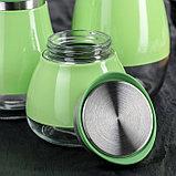 Набор банок для сыпучих продуктов «Сияние», 3 шт, 37×12×22 см, цвет зелёный, фото 3