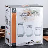 Набор банок для сыпучих продуктов «Сияние», 3 шт, 37×12×22 см, цвет зелёный, фото 5