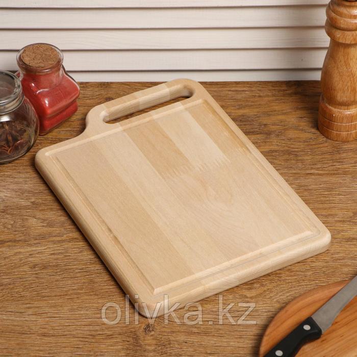 """Доска разделочная деревянная """"Со смещением"""", с кровостоком, с ручкой, МАССИВ, 28×20×2 см"""