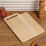 """Доска разделочная деревянная """"Со смещением"""", с кровостоком, с ручкой, МАССИВ, 28×20×2 см, фото 3"""