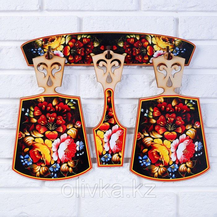 Набор досок «Хозяюшка», хохлома, сувенирный, 4 предмета, размер доски 17 х 28 см